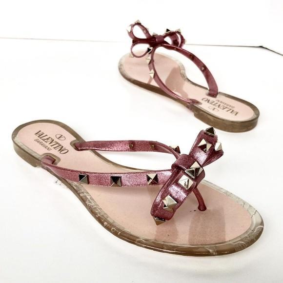 60c87bbce8ea Valentino Rockstud Jelly Bow Flip Flops Sandals